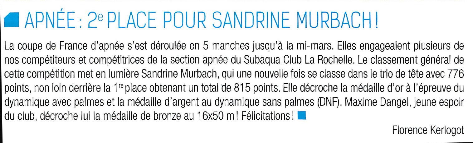 Article subaqua sandrine murbach classement g n ral coupe de france d 39 apn e 2016 subaqua club - Classement de la coupe de france ...